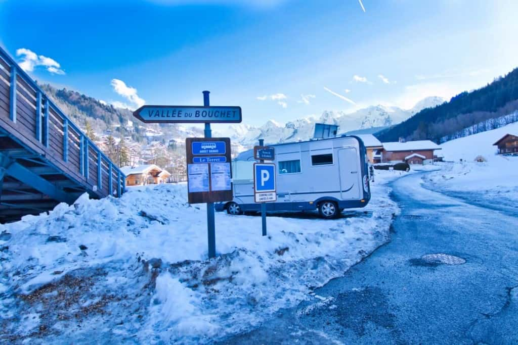 The Aire de camping car at Le Grand Bornand