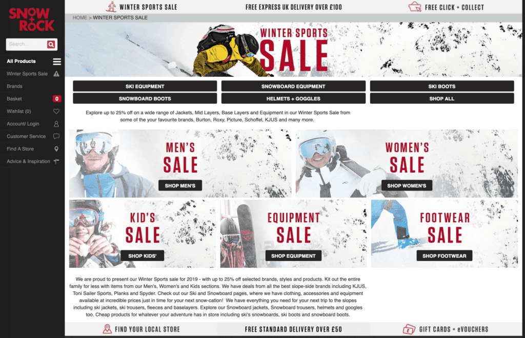 SNOW AND ROCK SKI SALE